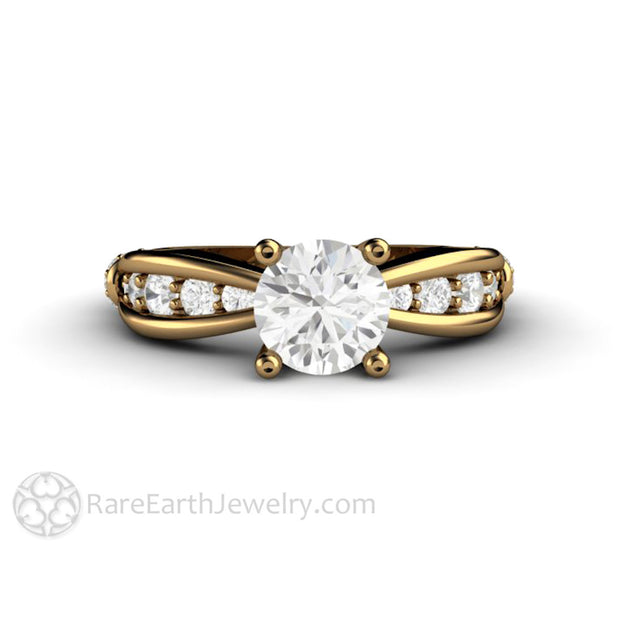 1ct Wedding Anniversary Ring 18K Yellow Gold Round Cut Moissanite Center Rare Earth Jewelry