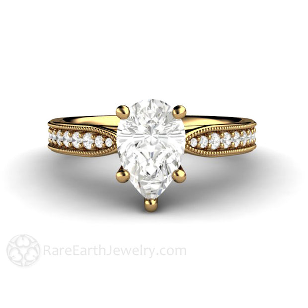 Rare Earth Jewelry 1.5 Carat Pear Forever One Moissanite Ring 18K Yellow Gold