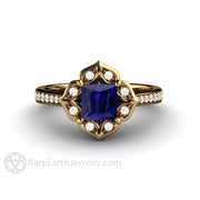 Antique 18K Gold Blue Sapphire Ring Princess Sapphire Ring with Diamond Halo by Rare Earth Jewelry