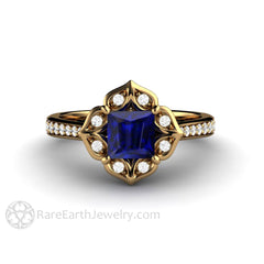 Rare Earth Jewelry 18K Princess Blue Sapphire Ring Diamond Halo Vintage Design