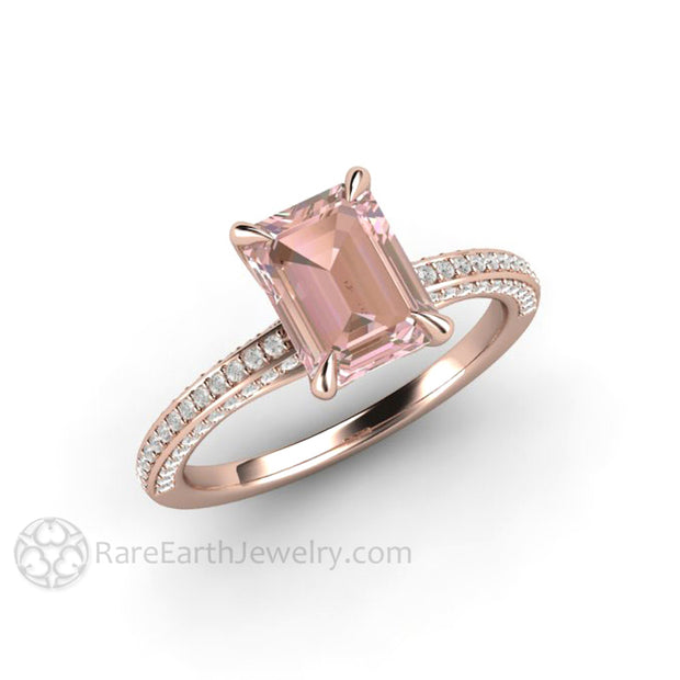 18K Rose Gold Emerald Cut Light Pink Sapphire Engagement Ring in Pave Diamond Solitaire Setting by Rare Earth Jewelry