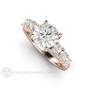 Rare Earth Jewelry 18K Rose Gold 2ct Moissanite Ring Diamond Alternative Bridal or Anniversary
