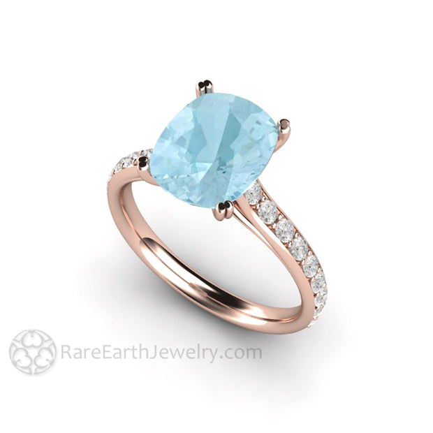 Rare Earth Jewelry 18K Rose Gold 3 Carat Cushion Aquamarine Ring Pave Diamond Cathedral Double Prong Setting