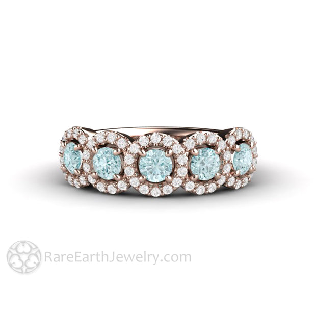 Rare Earth Jewelry 18K Rose Gold Aquamarine Anniversary Ring with Diamond Accented Halos