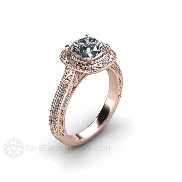 Rare Earth Jewelry Cushion Moissanite Diamond Alternative Ring 18K Rose Gold Halo Vintage Style