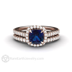 Rare Earth Jewelry 18K Rose Gold Cushion Cut Alexandrite Bridal Set Petite Diamond Halo Skinny Band Conflict Free