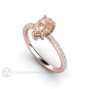 Rare Earth Jewelry 18K Rose Gold Engagement Ring Pink Sapphire with Diamonds Pear Cut Solitaire 1.15ct