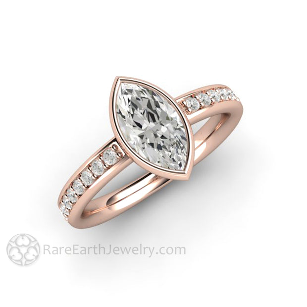 Affordable Engagement Ring Moissanite Marquise Cut Wedding Ring in 18K Rose Gold by Rare Earth Jewelry