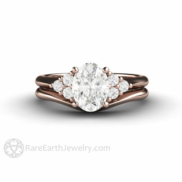 Rare Earth Jewelry 18K Rose Gold Moissanite Bridal Set Diamond Cluster Side Stones Plain Gold Band Vintage Antique Design