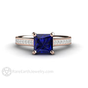 Rare Earth Jewelry 18K Rose Gold Princess Blue Sapphire Engagement Ring