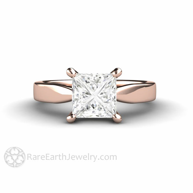 Rare Earth Jewelry 18K Rose Gold Princess Cut Moissanite Solitaire Bridal Ring Conflict Free 1.5ct Diamond Alternative