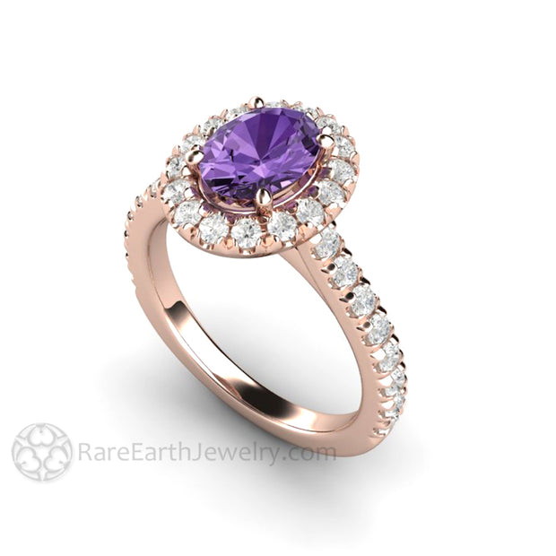 Rare Earth Jewelry 18K Rose Gold Purple Sapphire Ring with Diamonds Conflict Free