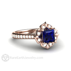 Rare Earth Jewelry 18K Rose Gold Vintage Blue Sapphire Halo Ring Princess Cut