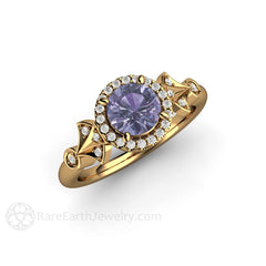 18K Gold Vintage Style Sapphire Halo Wedding Ring Rare Earth Jewelry