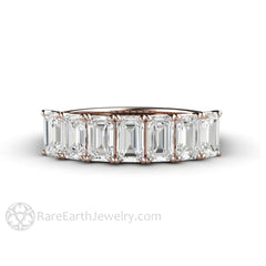 Rare Earth Jewelry 18K Rose Gold Woven Prong Emerald Moissanite Stackable Band Colorless 7 Stone
