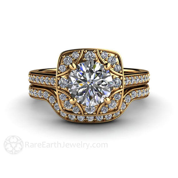 Rare Earth Jewelry 18K Art Deco 1 Carat Moissanite Wedding Set Diamond Accented Setting Conflict Free