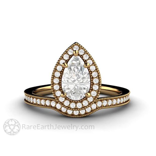 Rare Earth Jewelry 18K Pear Forever One Halo Wedding Ring Conflict Free Natural Diamond Accents Upside Down Style