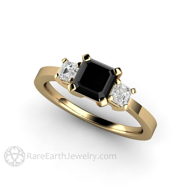Rare Earth Jewelry 1 Carat Black Asscher Diamond Engagement Ring with White Asscher Side Stones 14K Gold