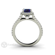 Halo Engagement Ring Pave Set Diamonds on a Delicate Band with Alexandrite by Rare Earth Jewelry