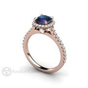 Rose Gold Alexandrite Ring with Cushion Cut Chatham Gemstone in Diamond Halo Setting on Skinny Band by Rare Earth Jewelry