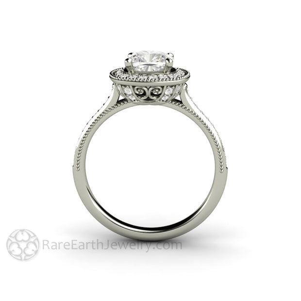 Rare Earth Jewelry White Gold Cushion Moissanite Engagement Ring Beaded Filigree Milgrain Detailing