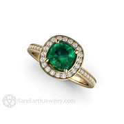 Rare Earth Jewelry 1 Carat Emerald Anniversary Ring Diamond Accented Halo Conflict Free
