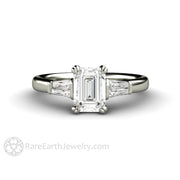 Rare Earth Jewelry 1 Carat Emerald Cut Diamond Engagement Ring with Baguettes 3 Stone Engagement