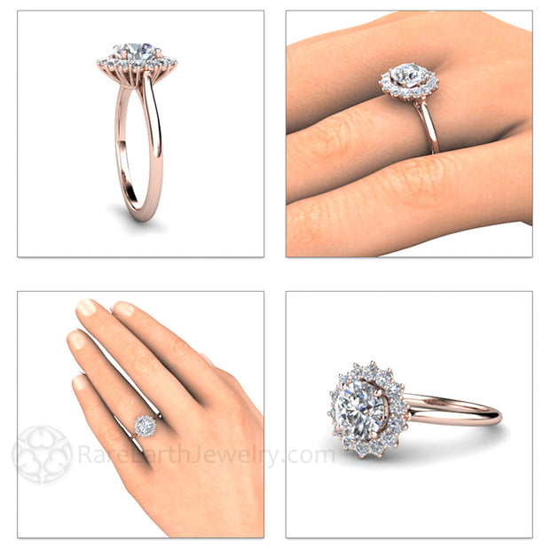 Rare Earth Jewelry 1ct Moissanite Right Hand Ring on Finger Diamond Halo Rose Gold Setting