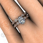 Rare Earth Jewelry 1 Carat Oval Diamond Wedding Ring Set on Finger with Beaded Edge Milgrain Scalloped Diamond Band 14K