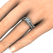 Rare Earth Jewelry 1 Carat Princess Diamond Bridal Set on Finger Conflict Free Natural Diamonds