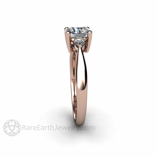Rare Earth Jewelry 1 Carat Round Forever One Moissanite Three Stone Engagement Ring
