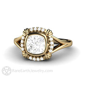 Rare Earth Jewelry 14K Vintage Art Deco Style Moissanite Engagement Ring Diamond Halo Bezel