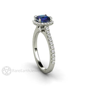 Unique Engagement Ring with Color Change Gemstone in a Thin Pave Diamond Halo Setting by Rare Earth Jewelry