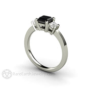 Rare Earth Jewelry 1ct Asscher Black Diamond Ring Three Stone 14K White Gold