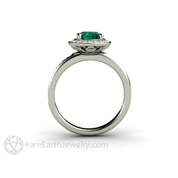 Rare Earth Jewelry 1ct Chatham Emerald Engagement Ring Diamond Halo Setting