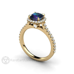 Rare Earth Jewelry 1ct Cushion Alexandrite Engagement Ring Claw Prong Diamond Halo 14K Gold Setting