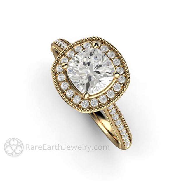 Rare Earth Jewelry Cushion Cut Forever One Moissanite Right Hand Ring or April Birthstone Diamond Alternative