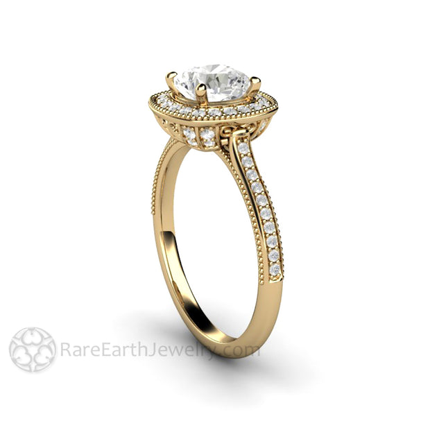 Rare Earth Jewelry Moissanite Engagement Ring Vintage Design 1ct Cushion Cut with Diamonds Milgrain Filigree Halo Setting 14K Yellow Gold