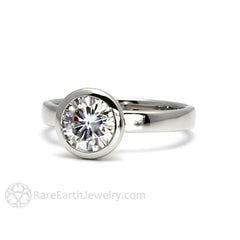 1ct Diamond Solitaire Anniversary Ring April Birthstone Rare Earth Jewelry