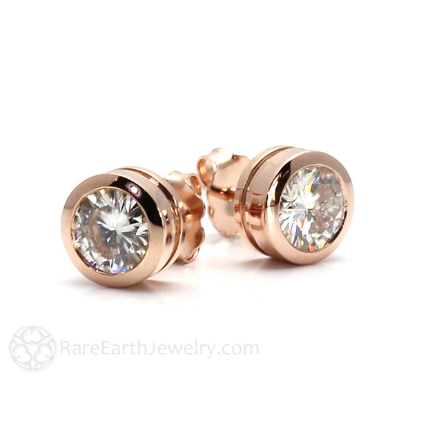 Rare Earth Jewelry Forever One Moissanite Earrings 14K Rose Gold Bezel Setting Posts