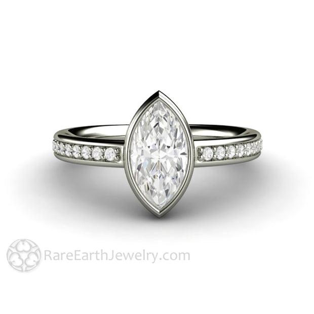 1ct Marquise Cut Moissanite Engagement Ring in Simple Bezel Setting Forever One Moissanite Ring in 14K or 18K White Gold by Rare Earth Jewelry