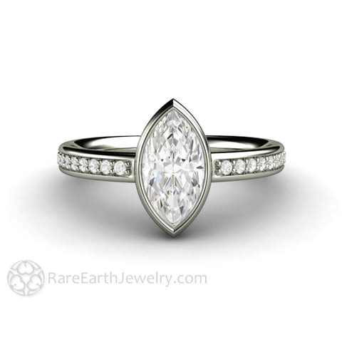 Marquise Cut Moissanite Engagement Ring Bezel Setting