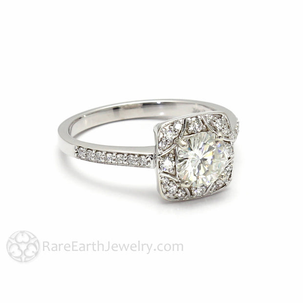 Rare Earth Jewelry Moissanite Anniversary Ring or April Birthstone Alternative 14K White Gold 1ct Round with Natural Diamonds