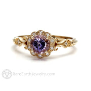 Rare Earth Jewelry 1ct Purple Sapphire Vintage Style Bridal Ring 14K Gold with Diamond Accent Stones