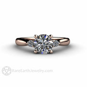 Three Stone Round Forever One Moissanite Engagement Ring