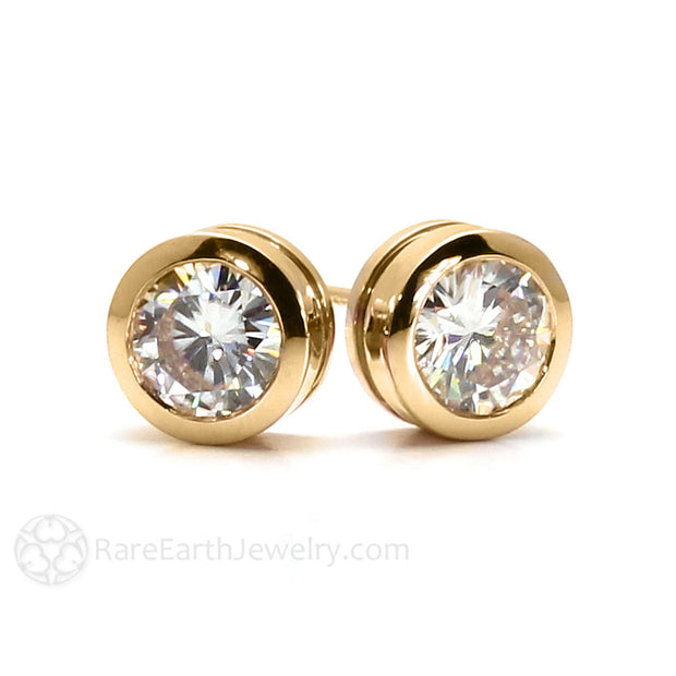 Rare Earth Jewelry Round Cut Charles & Colvard Forever One Moissanite Earrings 14K Post Bezel Setting 1 Carat