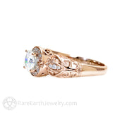 Rare Earth Jewelry Forever One Moissanite Ring Rose Gold Vintage Style Halo