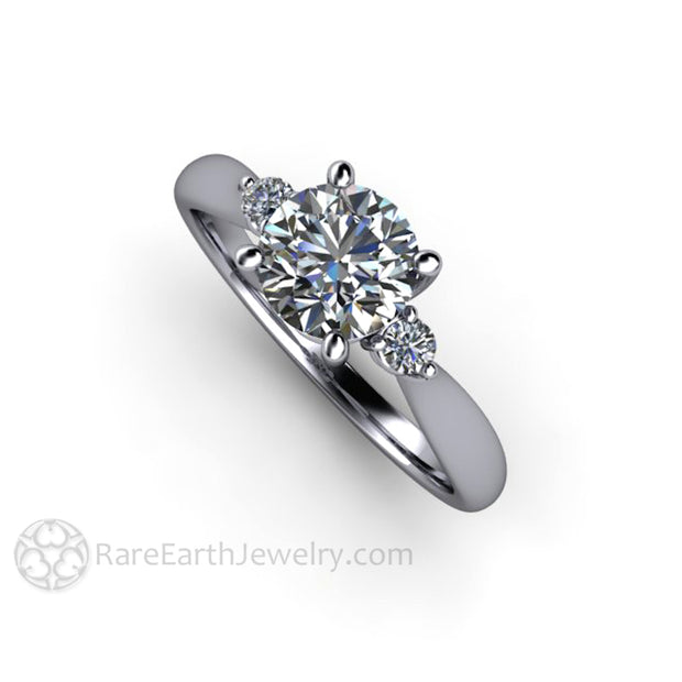 Rare Earth Jewelry 1ct Round Forever One Moissanite Engagement Ring Three Stone with Diamond Accents Platinum Setting