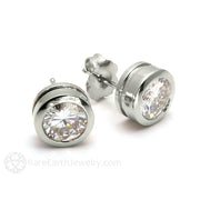 Rare Earth Jewelry 14K White Gold Moissanite Earrings 1ct Round Forever One 14K Gold