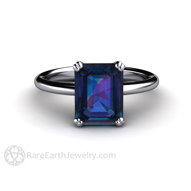 Rare Earth Jewelry 2.75 Carat Alexandrite Solitaire Ring Emerald Cut Engagement June Birthstone Platinum Double 4 Prong Setting